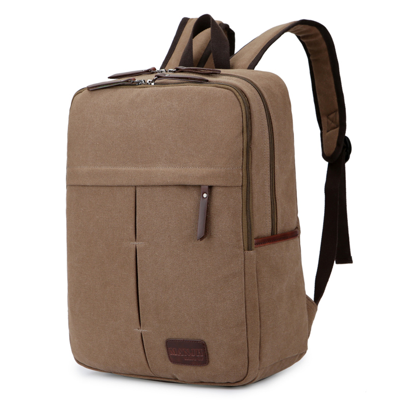 Business Canvas Men Laptop Backpack 14 Inch Solid Color Vintage Travel Backpack Men Rucksack Casual School Bags For Boys 1353 retro style two front pockets laptop compartment vintage canvas solid color backpack
