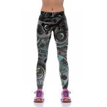 NEW KYK1080 Girl Women Time Watch Wheel Gear 3D Prints High Waist Running Fitness Sport Leggings