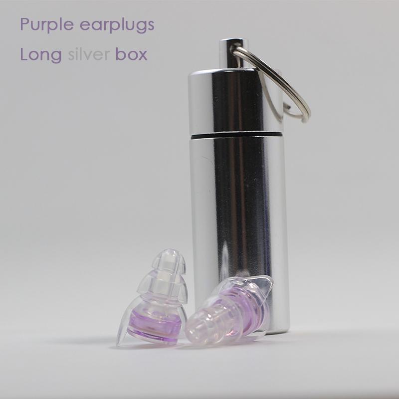 Purple earplugs + Long silver box