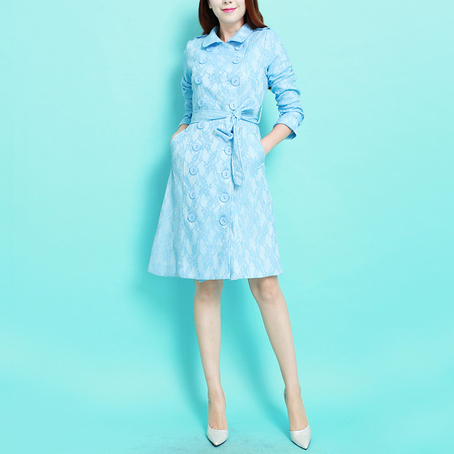 2016 Autumn and Winter Fashion Sky Blue Hollow Out Lace Double Breasted Outwear Medium-long Casual Female Trench Coat S-XXXL
