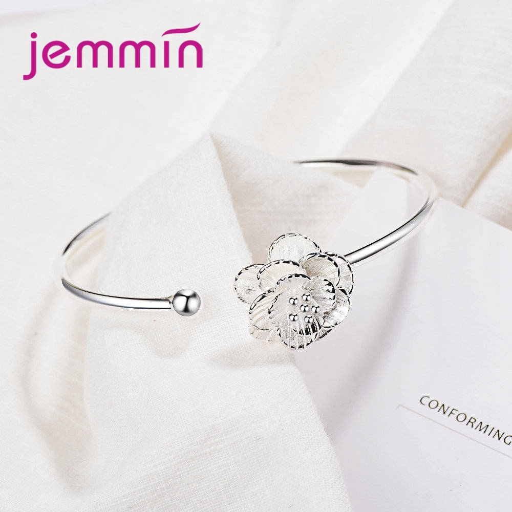 JEMMIN Hot Sale 925 Sterling Sliver Adjustable Simple Generous Half Open Boutique Flower Bracelet Femme Holiday Gift Anniversary