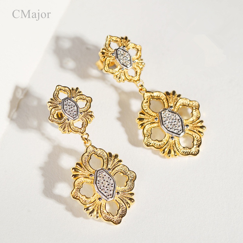 Cmajor Sterling Silver Geometric Flower Drop Earrings Ethnic Vintage Hollow Fashion Earrings For Women a suit of ethnic rhinestoned flower necklace and earrings for women