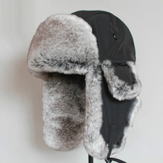 98ccf74b5d Bomber Hat Rex Rabbit Fur Trapper Hats Thick Warm Winter Snow Caps Russian  Mens Fur Hat Ear Flap Caps Waterproof Cap B-8484