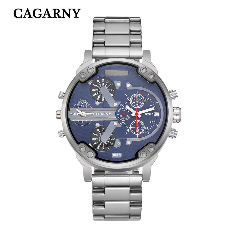 very cool dz big case mens watches full steel band dual time zones miltiary watch men quartz wrist watch free shhipping (6)