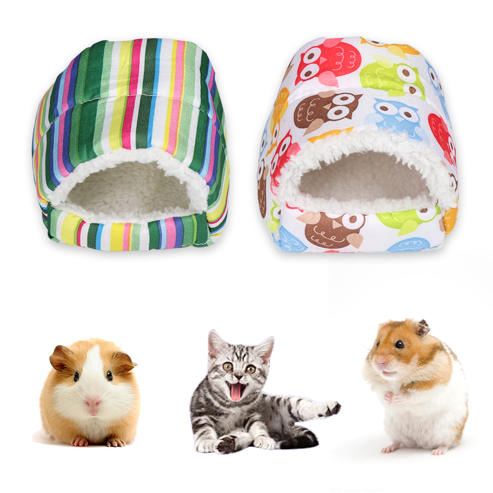 1pc Mini Hamster Warm Pad Sleeping Bed Nest Plush Soft Rabbit Guinea Pig House Small Animal Cage Winter