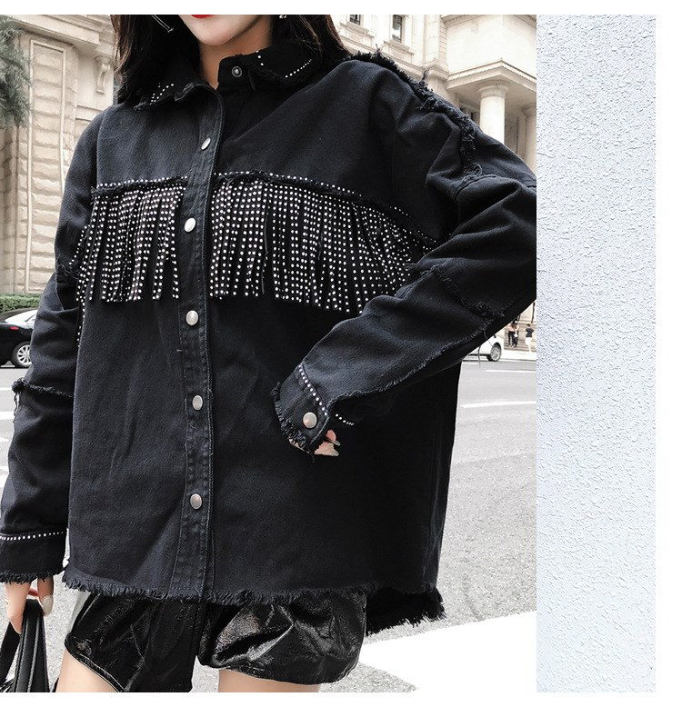 Autumn Covered Button Jeans Outwear Pockets Gothic Turn Down Collar Tassels Denim Overcoats Women Sequined Casual Jeans Jacket