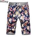 Los nuevos Hombres pantalones casuales siete centavos beach shorts Nacional estilo estampado de flores Lleno de algodón de Moda cintura elástica yardas Grandes M-5XL
