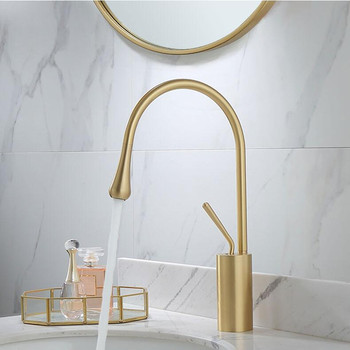 Bathroom Basin Faucet Brushed Gold Brass Mixer solid copper Construction Simple North Europe style Tap Sink Taps Basin Faucet