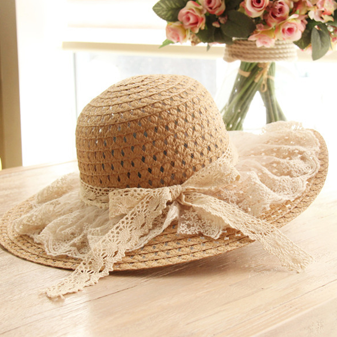 fb2021b342004 Hot Fashion Lace Summer Sun Hats For Women New Fashion Wide Brim Beach Side  Cap Floppy Female Straw Hat Lace