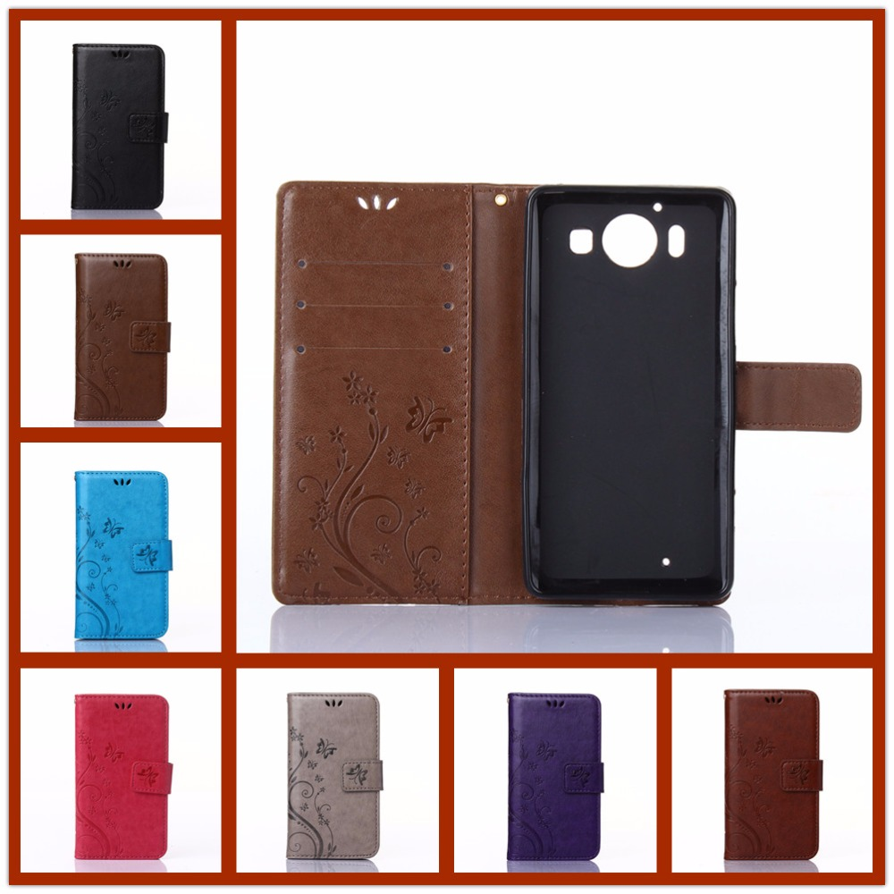 For <font><b>Microsoft</b></font> Nokia Lumia <font><b>950</b></font> N950 Solid color Double-sided pattern Leather <font><b>Case</b></font> Fashion Card Slot Stand Wallet Flip <font><b>Phone</b></font> Cover