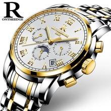 2017 New Luxury Watch Brand ONTHEEDGE Mechanical  Watch Men Steel Fashion Clock Male Waterproof Watches With Complete Calendar