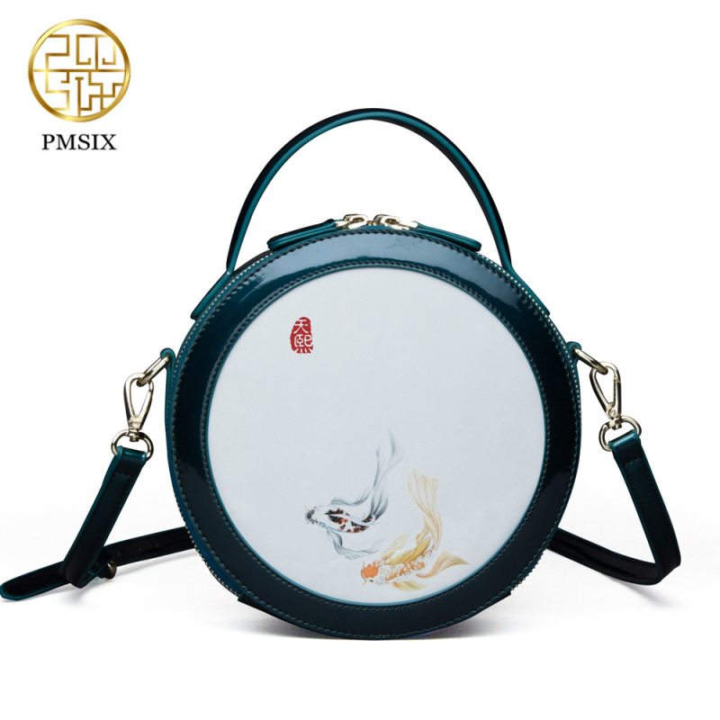 Pmsix Brand Cattle Split Leather Women Handbag Composite Bag Ladies Retro Shoulder Bag Women Shoulder Bag Fashion Crossbody Bag