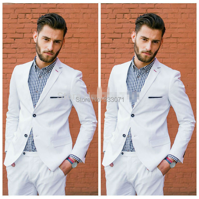 2017 White Groom Tuxedos 2 Piece Mens Wedding Prom Dinner Suits Casual Style Blazer Best Man