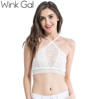 Wink Gal 2017 Summer Fashion Brief Crop Tops Cami Lace Tank Top Woman Sexy Lingerie W12133