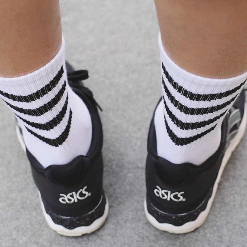 2019 メンズファッションブランド靴下斜めストライプ素晴らしいホワイトスケートボード固定ギアcalcetinesファッションヒップホップ靴下