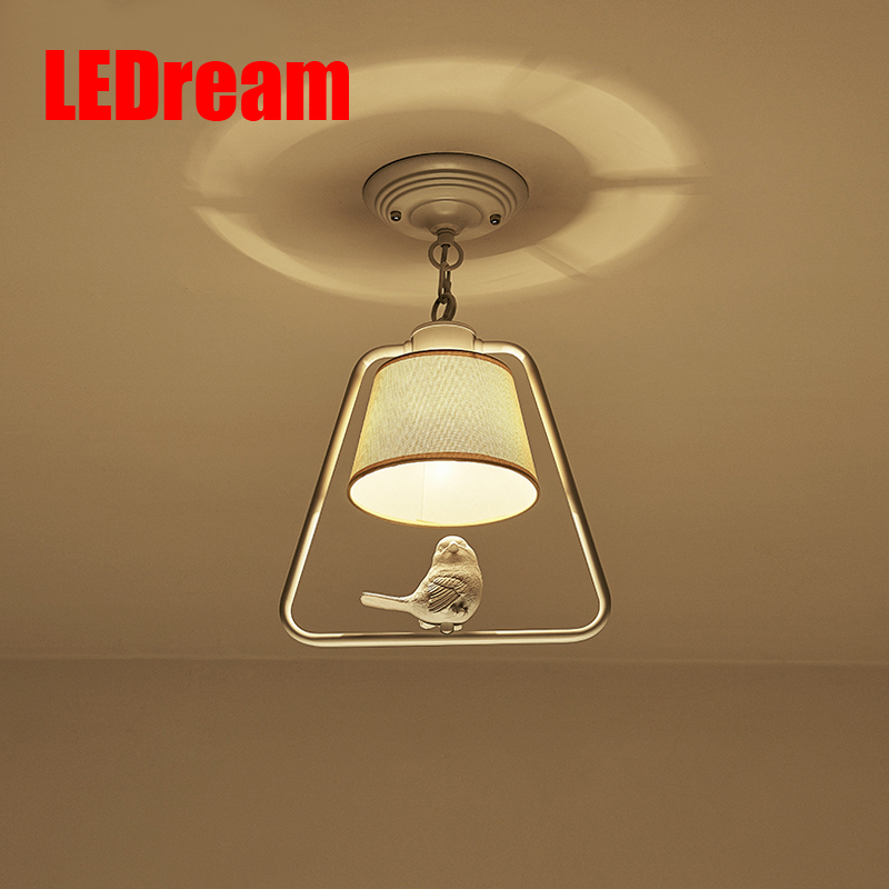 LEDream Modern Light Pendants Lamp Dining Room Kitchen Loft cloth Lampshade Resin Bird White/black Iron Home Lighting Fixture country style lamp modern pendant light dining room kitchen home fixture resin bird glass lampshade white iron e27 110 240v
