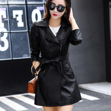 цена New Women's Long Leather Jacket Slim Large Size Bow Belt Motorcycle PU Leather Long Coat Jacket Leather Windbreaker
