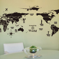 Large Size Pvc Self Adhesive Wall Stickers Creative Global Travel World Map Wallpaper Stickers