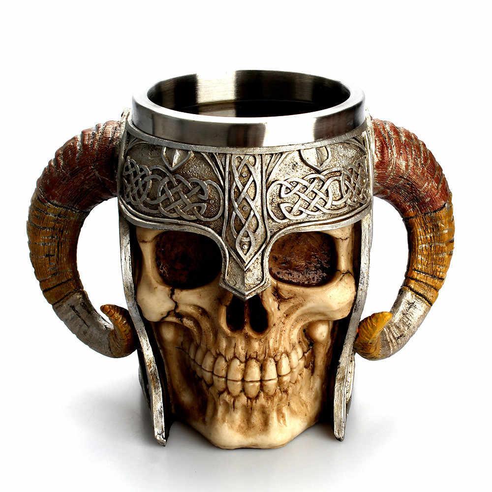 Stainless Steel Resin Cangkir Kopi Resin Mencolok Prajurit Cangkir Viking Tengkorak Dua Dinding Piala Natal Gothic Helm Air Minum
