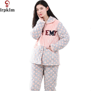 New Women Cute Fluffy Coral Velvet Long-Sleeve Pajama Sets Warm Winter Sleepwear Fleece Print Night Suit Casual Set SY533 pajamas