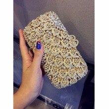 8304GD Crystal Lady Fashion Wedding Bridal Party Night hollow gold Metal Evening purse clutch bag case box handbag