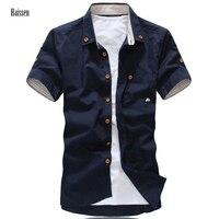 2017 New Brand Mushroom Embroidery Mens Short Sleeve Casual Shirts Fashion Summer Cotton Shirt Men Social