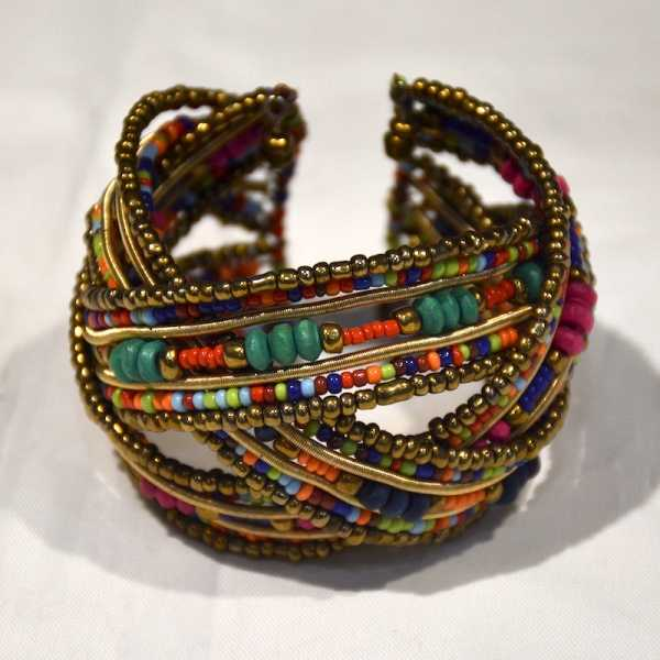 fashion wood jewelry Czech glass seed beaded bracelet cuff bangle for women