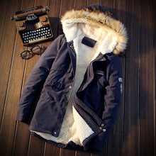 Winter Men's Fashion Boutique Cotton Thickening Warm Pure Color Slim Casual Jackets Coats / Male Leisure Large Size Jacket Coats