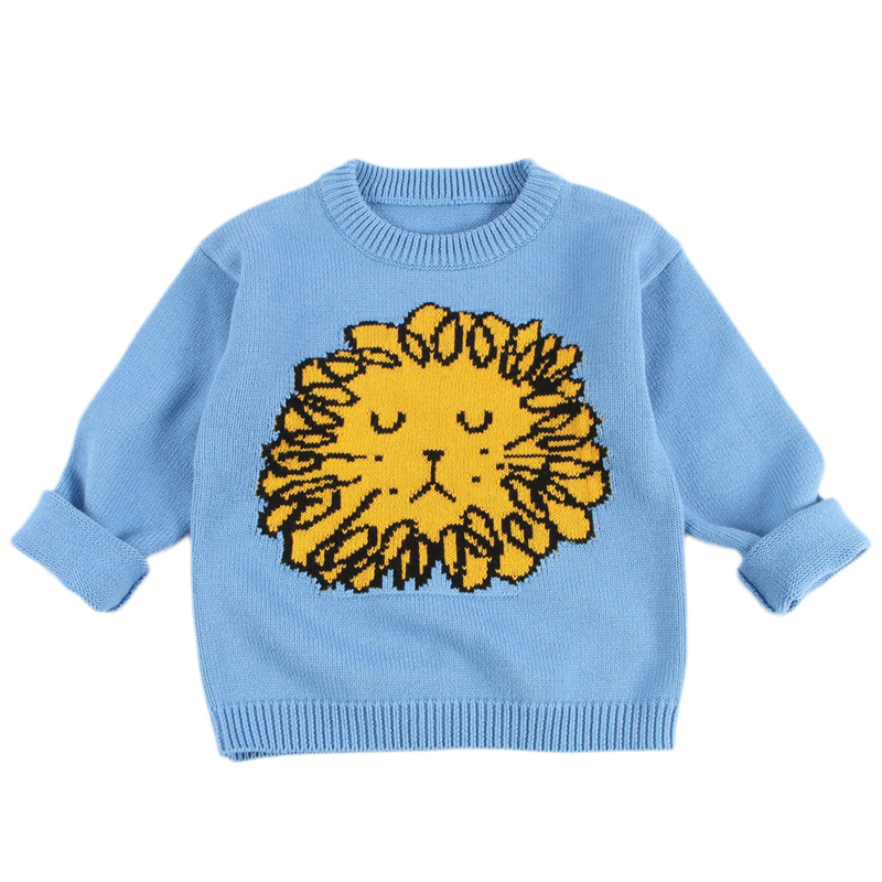 d31fc0b1c Baby Boys Girls Knit Sweaters Cute INS Lion Cartoon Printed ...