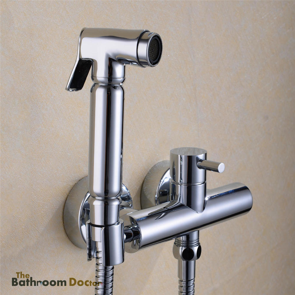 ФОТО Hot and Cold Mixer valve + Handheld Bidet Sprayer Spray Douche kit Shattaf Shower Kit 02-081
