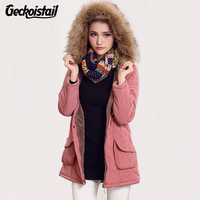 Geckoistail Parkas Women Coats Fashion Autumn Warm Winter Jackets Women Fur Collar Long Plus Size Hoodies