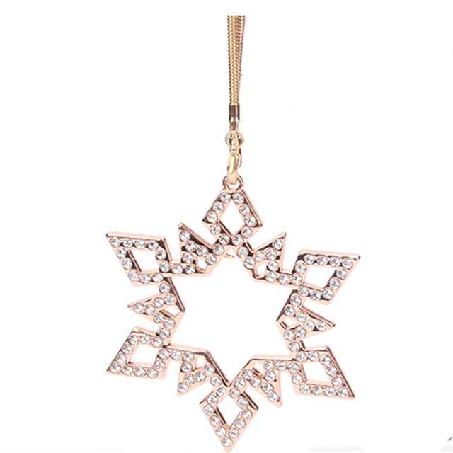 New Stars Car Ornaments Diamond Hexagram Stainless Snowflake Shape Metallic Auto Interior Ornaments Accessories For Women Girls