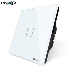 CNSKOU EU/UK 1 Gang Way Wall Touch Sensor Switch, White Crystal Glass Switch Panel, EU Standard, 220-250V