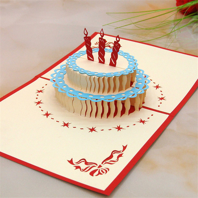 Happy Birthday Card 3D Pop Up Blank Cake Laser Cut Vintage Invitations Cards For Kids