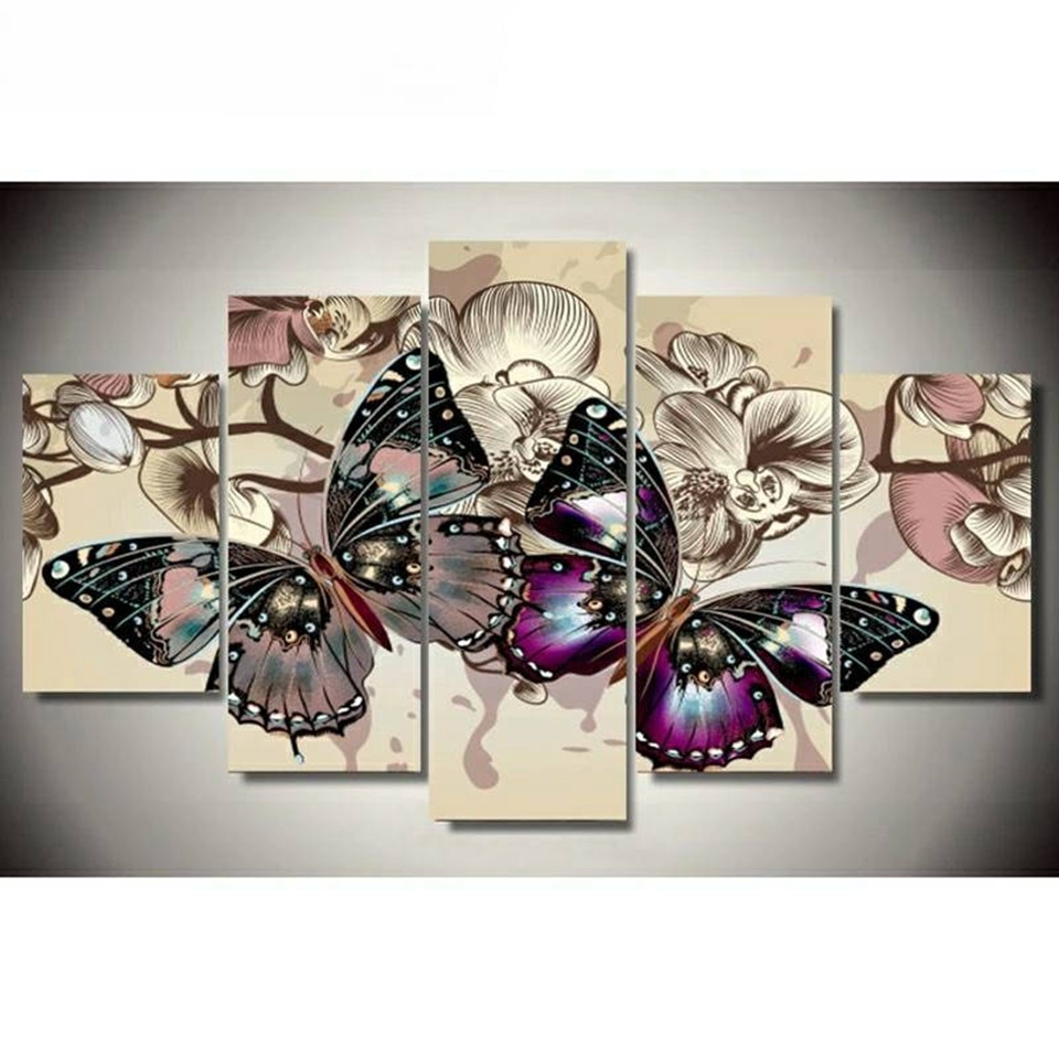 5D DIY Diamond Embroidery Colorful Butterfly Diamond Painting Cross Stitch Full Drill Square Rhinestone Mosaic Multi picture in Diamond Painting Cross Stitch from Home Garden