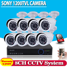 home cctv system 8 channel AHD 1080N DVR 8pcs IR 1200tvl White bullet  security camera system cctv dvr kit 8ch dvr with 1TB HDD