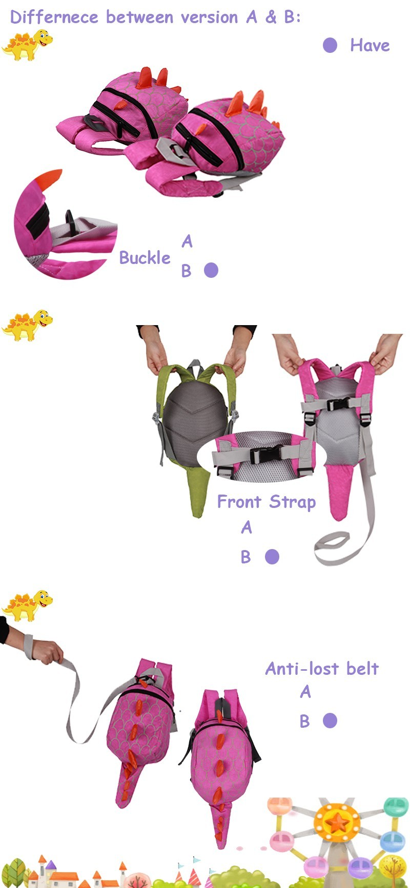 Dinosaur Anti lost backpack for kids Children Backpack aminals Kindergarten School bags for 1-4 years 7