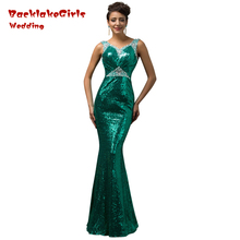 Long Elegant Sweetheart Mermaid Gowns Sequin Formal Party Custom Made Robe Evening Dresses 2017