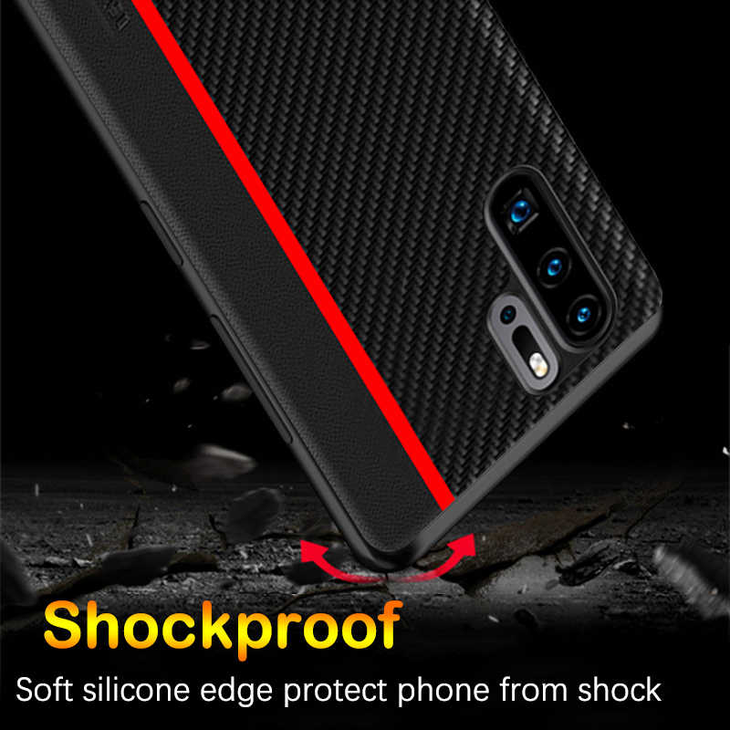 for Huawei P30 Pro Case Original CENMASO Carbon Fiber PU Leather Protection Back Cover for Huawei P30 P20 Pro P30 Lite Case Capa