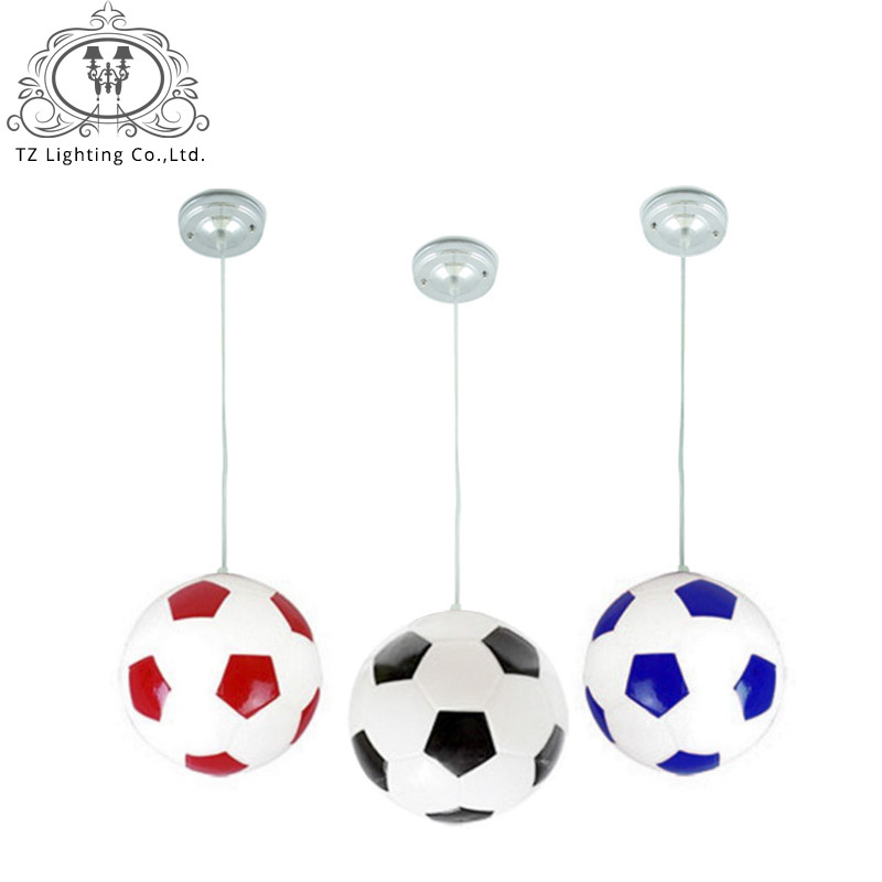 TZ Modern LED football Pendant Light Black Blue Red Lampshade E27 Glass Bedroom living room Hanging Lamp For Home Fixtures creative modern fashion glass football basketball dia 25cm led e27 table lamp for bedroom children s room light adjustable 1334