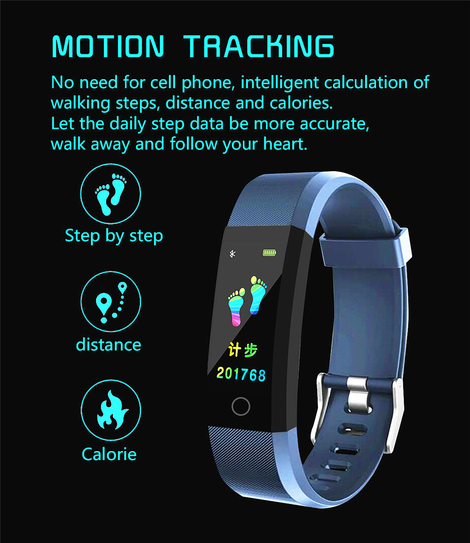 Fitness Tracker bracelet pressure measurement pedometer Smart band Heart rate monitor IP68 Waterproof smartwatch For Android ios xiaomi band 05