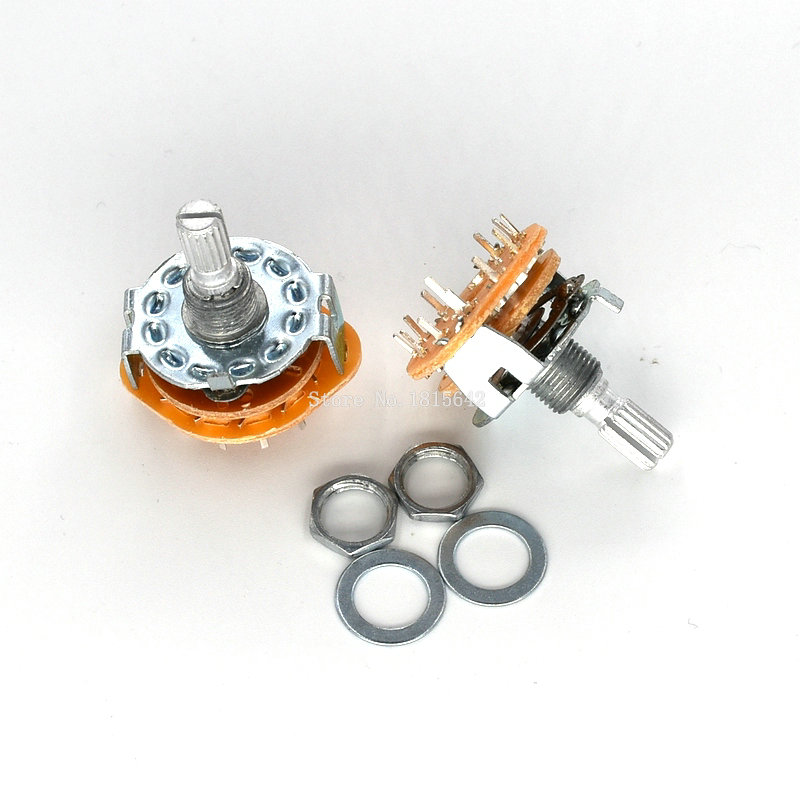 2PCS/LOT RS25 3P4T Potentiometer With Switch Shaft Panel Mount 3 Pole 4 Position Rotary Switch Selector Band