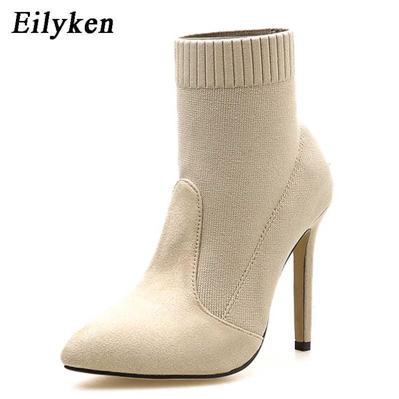 Eilyken kadın yarım çizmeler üzerinde kayma seksi bayanlar sivri burun örgü topuklu ayakkabılar kadın streç çorap çizmeler yüksek topuk ayakkabı