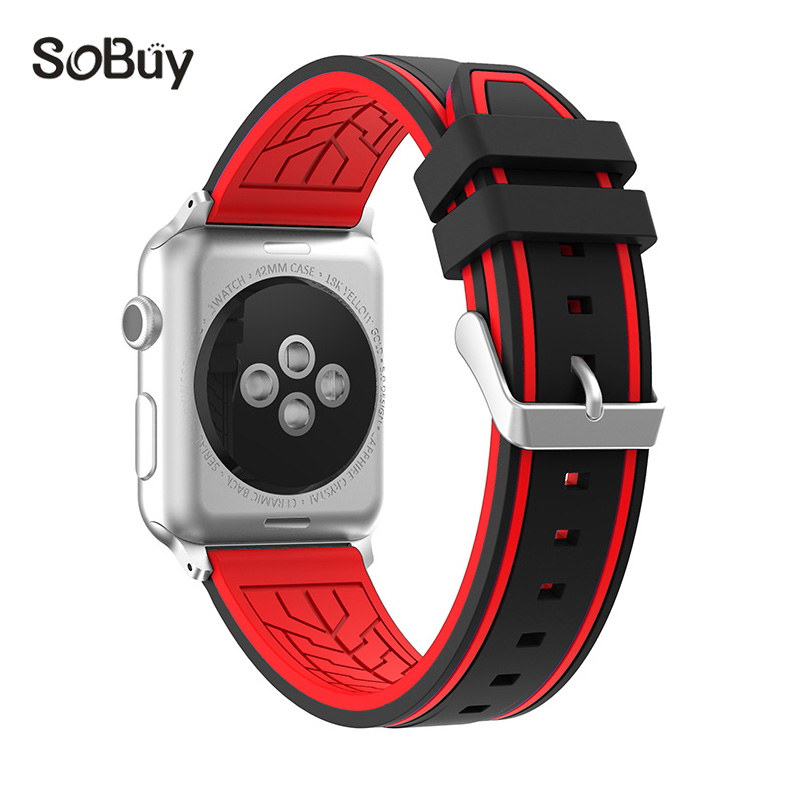 So buy for Apple Watch Sport 1/2/3 Series 38mm band 42mm Silicone Wrist Strap Stainless Steel Adapter for iwatch rubber Bracelet so buy wrist bracelet 316l stainless steel bands for apple watch 42mm 38mm iwatch strap series 1 2 3 sport milan nice metal band