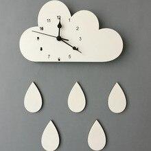 28*16CM Nordic Wooden Cloud Raindrop Shaped Wall Clock Kids Room Decor Baby Gender Neutral Wall Clock Nursery Baby Gift