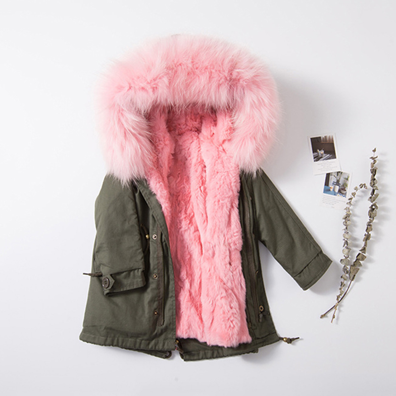 Зимнее пальто для девочек натуральный Мех животных Кролик Мех животных лайнер Куртки детская верхняя одежда для маленьких девочек Плотная ...