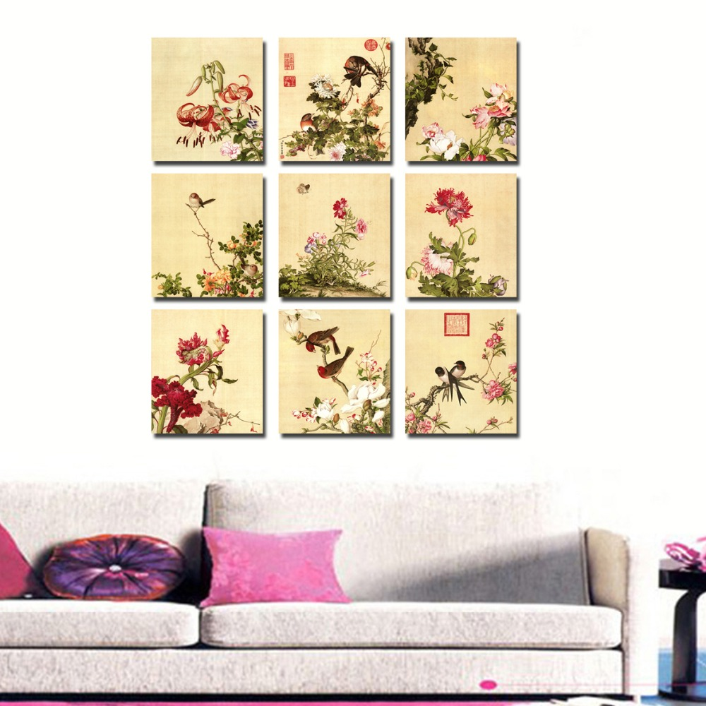 9 Pcs red Flower Trees and birds Canvas Print Painting For Living ...
