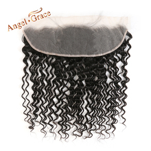 ANGEL GRACE HAIR Brazilian Deep Wave 13x4 Lace Frontal Free Middle Part Human Hair Natural Color Remy Hair Ear to Ear Frontal