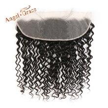 Melek GRACE saç brezilyalı derin dalga 13x4 dantel Frontal ücretsiz orta kısmı İnsan saç doğal renk Remy saç kulak kulak ön