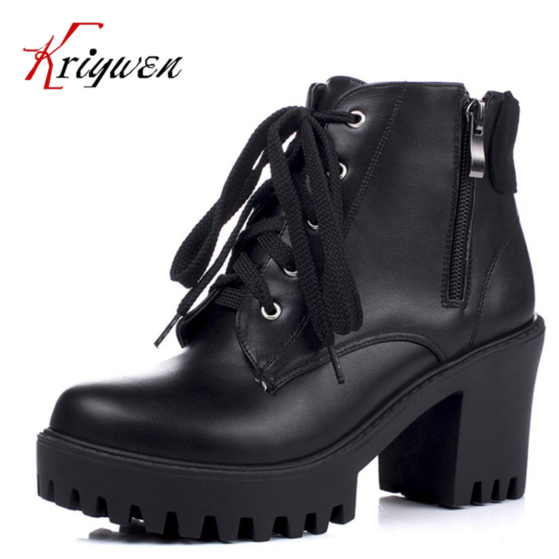 Big size 34-43 New arrival 2016 winter autumn ankle boots for women black brown PU leather 8cm high heels lace up dress shoes new 2016 fashion women winter shoes big size 33 47 solid pu leather lace up high heel ankle boots zapatos mujer mle f15
